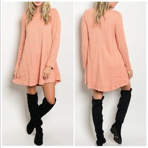 Blush Cable-knit Sweater Dress Size Small